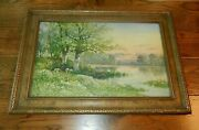 Vtg- Frame With Signed Carl Weber Watercolor Painting/print 19th Century Framed