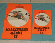 Vintage Original Norcross Greeting Cards Halloween Advertising Signs Witch