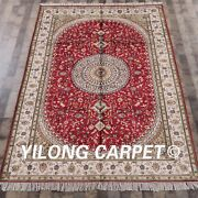 Yilong 6and039x9and039 Handmade Silk Red Carpets Antistatic Indoor Kid Friendly Rug Wy305c