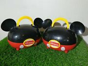 2 X Disneyland Paris Collectable Mickey Mouse Ears Lunch Box Storage Case Red