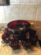 Vintage Anchor Hocking Royal Ruby Red Punch Bowl Base 12 Cups Depression Glass