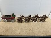 Cast Iron 8 Clydesdale Horses Beer Wagon W/ 27 Barrels Riders Dog - Budweiser