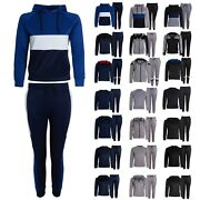 Boys Tracksuit New Kids Contrast Style Hooded Jogging Bottoms And Hoodie Pe Set