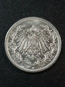 Germany 1915 Wilhelm Ii 1/2 Mark 90 Silver 20mm Circulated Coin...