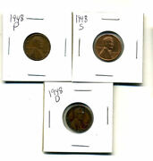 1948 Pds Wheat Pennies Lincoln Cents Circulated 2x2 Flips 3 Coin Pds Set1008