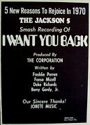Michael The Jackson 5 Five 1970 Poster Ad I Want You Back
