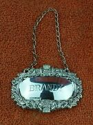 Sterling Silver Hallmarked Brandy Decanter Label 1985 W I Broadway And Co