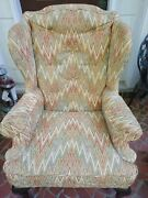 Sherrill Vintage Wing Back Chair With Ornate Wooden Legs