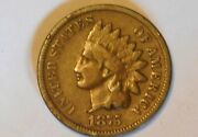 1875 1c Indian Head Cent Vg-f