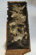 Fine Antique Chinese Embroidered Silk Rank Badge Robe Panel Metal Thread Glass