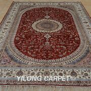 Yilong 6and039x9and039 Oriental Handknotted Silk Rug Home Decor Indoor Red Carpet 1241