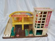 Vintage 70and039s Fisher Price Little People Parking Ramp Garage Only No Vehicles