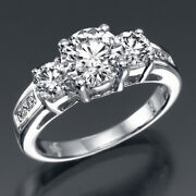 Msrp 9850 2.15 Ct 3 Stone Diamond Anniversary Ring White Gold I2 01051346