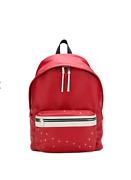Saint Laurent City Backpack 🎒smooth Red Leather With Stars Retail 1490 Nwt