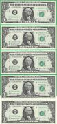 1963b 1 Federal Reserve Note Barr Note 5 Notes In Sequence