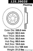 For Volvo S60 V70 Front Set Of 2 Disc Brake Rotor Centric Parts 125.39035