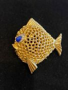 Vintage Jomaz Cabochon And Crystals Puffer Fish Brooch Pin