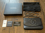 Authentic Black Caviar Leather Timeless Woc Wallet On Chain Flap