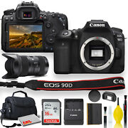 Canon Eos 90d Dslr Camera With Sigma 18-35mm Lens Soft Padded Case Memory