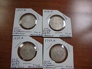 Set Of Four Rare Nazi Germany Two Reichsmark Silver Coins Wwii Third Reich Swaz