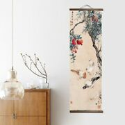 Japanese Style Wood Scroll Paintings Decorations Flower Animal Canvas Posters