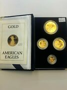1988 American Eagle Gold Proof 4 Coin Set Age In Box W/ Coa Roman Numerals