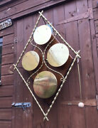 Stunning Antique Oak And Brass Westminster Chime Hanging Dinner Gong Andbeater C1890