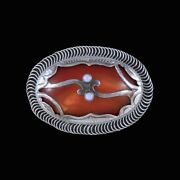 C.f. Andreasen - Copenhagen. Art Nouveau Silver Brooch With Amber And Opal.