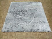 10 X 10and0393 Square Hand Knotted Gray Modern Abstract Oriental Rug With Silk G9076
