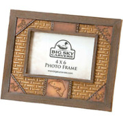Big Sky Carvers Trout Fish Lure Rustic 4x6 Picture Frame Fly Fishing Cabin Decor