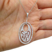 See Video Estate 0.75ct Diamond Pendant Necklace In 14k White Gold Length 16