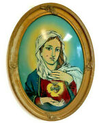 Antique Oval Convex Bubble Glass Reverse Painting Religious Mary Madonna 23 X 17