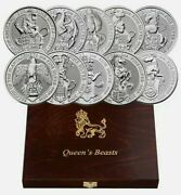 2016-2021 20 Oz Silver Great Britain Queenand039s Beast 2 Oz 10 Coin Set.