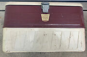 Vintage Antique Metal Little Brown Chest Insulated Ice Cooler 22 X 13andrdquo X 13andrdquo
