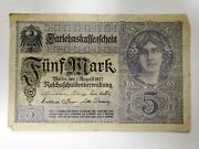 August 1917 5 Mark Funf Mark Reichsbanknote Imperial Germany