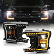 [amber Sequential Signal]full Led Dual Projector Headlamp For 18-20 Ford F150