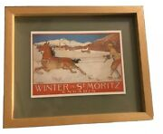 Vintage Winter In St Moritz Engadin 1907 Professionally Framed Collectible