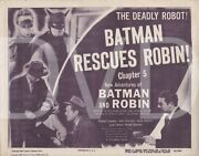 1949 New Adventures Of Batman And Robin Theater Title Lobby Card Chapter 5 Rare
