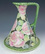 Nippon Hand Painted Roses Moriage Pitcher Ewer Vase Maple Leaf Mark 52