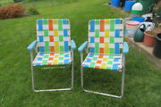 2 Vintage Aluminum Folding Webbed Webbing Lawn Chair Multi Color Mcm