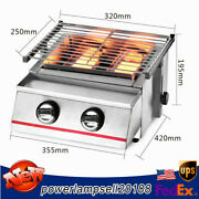 Portable Stainless Bbq Tabletop 2 Burners Gas Grill Camping Party Adjustable