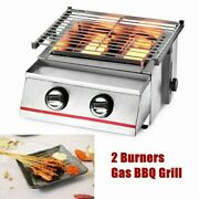 Adjustable Tabletop Gas Grill Stainless 2 Burners Bbq Outdoor Camping Picnic