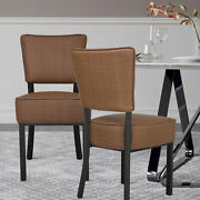 Set Of 4 Pu Leather Dining Chair Set Metal Frame High Back Padded Seat Breakfast
