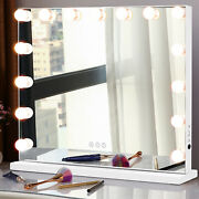 Large Hollywood Makeup Mirror Tabletop Vanity Lighted Dimmable 15 Free Led Bulbs