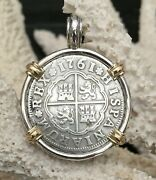 Pirate Coin Treasure Piece Of Eight Spanish Authentic 2 Reales Ss/14k Pendant