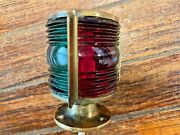 Vintage Nml Brass Bow Light Red/green Glass Lens New Wiring/led Screw On Base