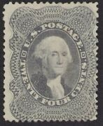 Us Stamps - 37a Gray - Mint 24andcent P15andfrac12 Washington Issue - Cv 1450