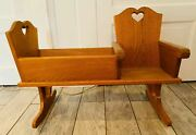 Vintage Handmade Wood Baby Doll Cradle Attached Childs Chair On Rockers Flawed