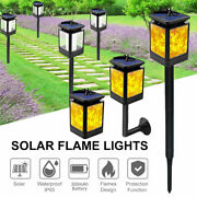 4pc Solar 12led Dancing Flame Lamp Flickering Torch Garden Lights Path Yard 3in1