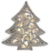 Free Standing Christmas Led Lit Up Christmas Tree Silver Glitter